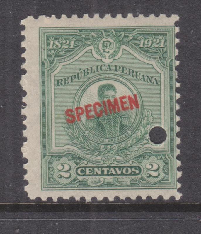 PERU, 1921 Centenary Independence, 2c., ABN Punched Proof, SPECIMEN in Red, mnh