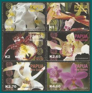 Papua New Guinea 2004 Orchids, MNH  #1118-1123,SG1017-SG1022