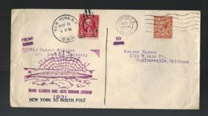 1931 USA London England Cover Hubert Wilkins North Pole Submarine Expedition 2
