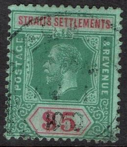 STRAITS SETTLEMENTS 1912 KGV $5 GREEN & RED /GREEN WMK MULTI CROWN CA USED