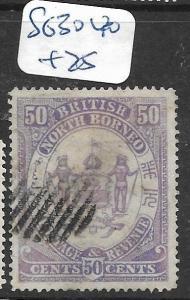 NORTH BORNEO (P2805B)  50C ARMS , LION SG 30   VFU