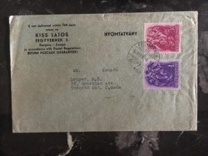 1937 Fegyvernek Hungary Cover To Toronto Canada
