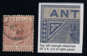 Antigua, SG 28a, used Top Left Triangle Detached variety