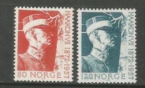 NORWAY, 590-591, MINT HINGED, KING HAAKON VII
