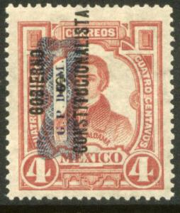 MEXICO 531, 4c CORBATA & $ REVOLUTIONARY OVERPRINTS UNUSED, HINGED, OG. F-VF.