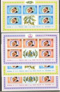 DOMINICA Sc#372-373 1973 Princess Anne Wedding Lot of 10 Cpl Sets OG MNH