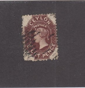 CEYLON # 54  VF-USED  8p  1863-67 QUEEN VICTORIA /RED BROWN CAT VALUE $80