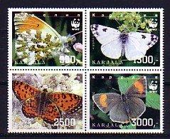 Karjala, 303-306. Russian Local. Butterflies on a Block of 4. ^