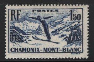 France 1937 Skiing at Chamonix-Mont Blanc Sc# 322 NH