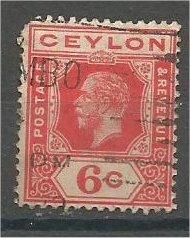 CEYLON, 1912 used 6c, King George V, Scott 204