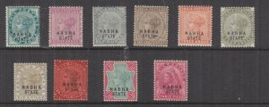 NABHA, INDIA, 1885-1900 Black overprint, selection to 1r., (both), lhm. (10)