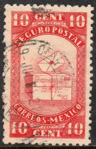MEXICO G7, 10cents INSURED LETTER. USED. F-VF (1095)