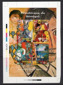 Senegal 1999 Sc#1436 PICASSO PAINTINGS Sheetlet UNIQUE FINAL PROOF CROMALIN  !!!