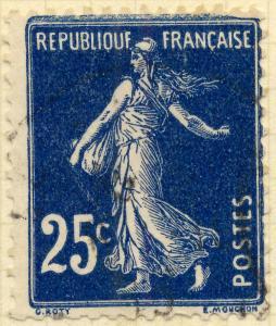 FRANCE - 1907 - Yv.140/Mi.119ax 25c bleu foncé T1A cadre épais en haut - Obl. TB