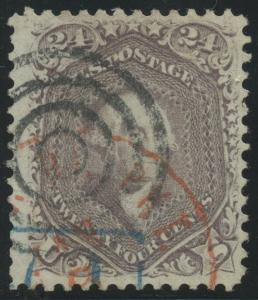 #70 24c 1861 VF+ USED WITH RED TOWN & BLACK TARGET CANCELS CV $390+ BU5597