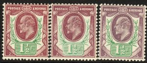 SG 287-289 1 1/2d Somerset House basic shade trio in P. O. fresh  unmounted mint