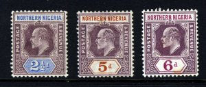 NORTHERN NIGERIA KE VII 1902 Wmk Crown CA Group SG 13 SG 14 & SG 15 MINT