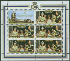 Aitutaki Cook Islands Scott 151 QE2 Jubilee Sheet 1977 CV$15