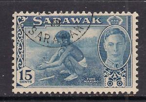 Sarawak 1950 KGV1 15ct Blue Fire Making SG 179 used stamp ( A898 )