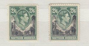 Northern Rhodesia KGVI 1938 2s 6d x 2 SG41 MVLH/VFU J9640