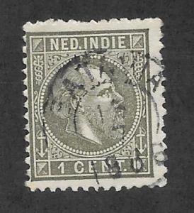 NETHERLANDS INDIES Scott #3 Used 1c King William IIl stamp 2017 CV $4.50
