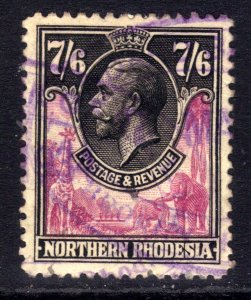 Northern Rhodesia 1925 - 29 KGV 7/-6d Rose purple & Black used SG 15 CV £300...