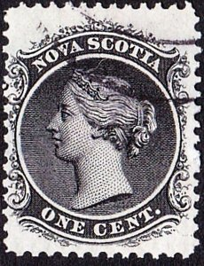 NOVA SCOTIA 1860 QV 1d Black SG18 Fine Used