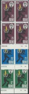 BRUNEI 1968 Human Rights set plate blocks of 4 MNH.........................50387