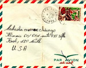 Ivory Coast 30F Cabbage Tree 1968 Adzope, Cote d'Ivoire to Chicago, Ill.  Cre...