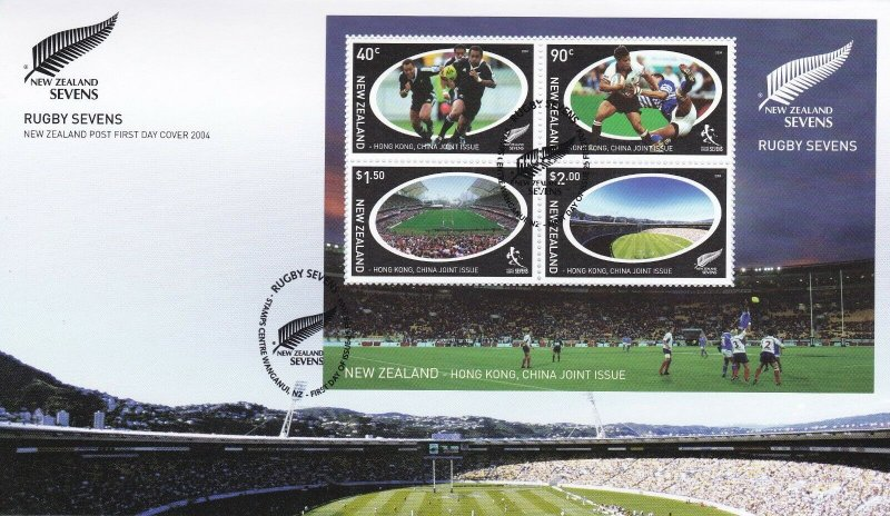 NZFD127) NZ 2004 New Zealand Sevens cachet FDC. Bearing: NZ Sevens MS