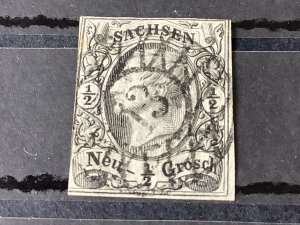 Saxony 1855 Grid Number cancel 13 for Schneeberg  Ore Mountains  Stamp 57182
