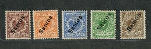 German Dominion Samoa Sc#51//56 M/H/F-VF, Cv. $131