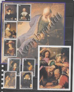 Turks and caicos 2003 art paintings Rembrandt set+s/s+klb MNH