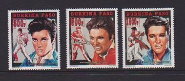 BURKINA FASO  STAMPS MNH OF ELVIS PRESLEY #990-992 .LOT#438