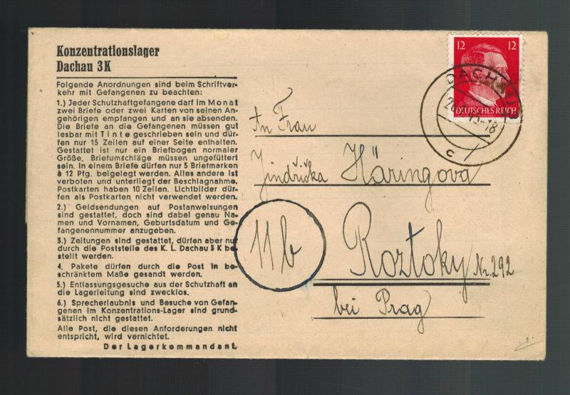 1945 Germany Dachau Concentration Camp Letter Cover to Roztoky Josef Haring KZ