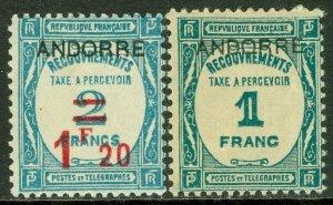 EDW1949SELL : ANDORRA 1931-32 Sc #J12-13 VF, Mint OG. Both Very Fresh. Cat $190.