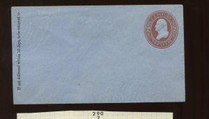Scott U290 RARE Washington Die 82 on Blue Stamped Envelope (UPSS 857) SCV $1600