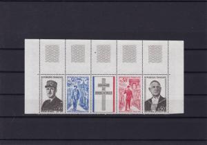 france de gaulle mint never hinged stamps part sheet  ref r13914