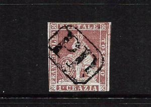 TUSCANY 1851-52  1c  CLARET  LION  FU     SG 8