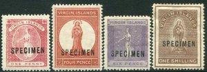BRITISH VIRGIN ISLANDS-1887-89 Set of 4 with Specimen OVPT Sg 34s-40s MM V33668