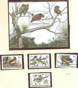Dominica 1981 Scott # 696-700 Forest Thrush MNH