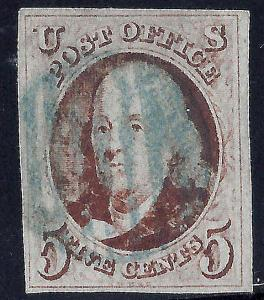U.S. 1 1847 Used VF 4 Margin (110117)