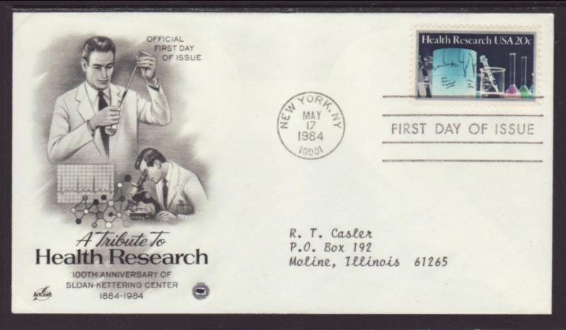 US Health Research 1984 PCS Typed FDC BIN
