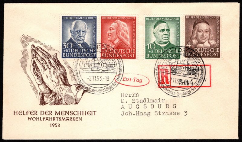 GER SC #B334-7 1953 S-P/For Welfare Organizations FDC 11-02-1953, REG'D (304)