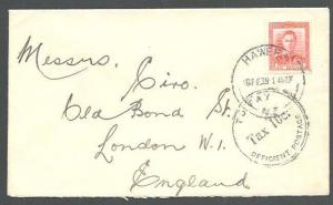 NEW ZEALAND 1939 cover Hawera to London, TAX 10c...........................60289