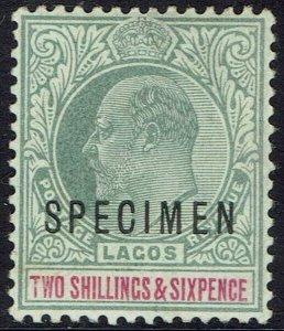 LAGOS 1904 KEVII 2/6 SPECIMEN WMK CROWN CA