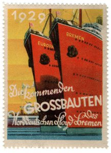 (I.B) Germany Cinderella : Steamship Label (Nord Deutscher-Lloyd)