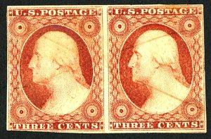 U.S. #11 USED PAIR REMOVED PEN CANCEL