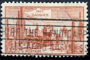 U.S. #1028 Gadsen Purchase issue 1953. Very Thin. SF