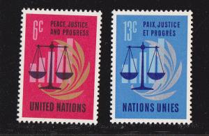 UN - NY # 213-214, Peace Justice Prosperit Mint NH, 1/2 Cat.